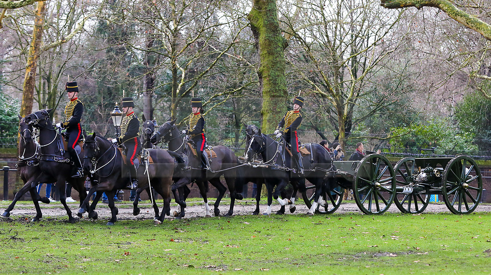 © Licensed to London News Pictures. 06/02/2019. London, UK. Members of The King's Troop Royal Horse Artillery arrives in Green Park to fire a 41-gun salute to mark the 67th anniversary of the Queen Elizabeth II's accession to the throne. Photo credit: Dinendra Haria/LNP