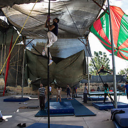 Palestinian artists are training under the tent of Palestinian Circus School, (in Birzeit, near Ramallah), waiting for the arrival of the french group of Le Lido Circus from Toulouse