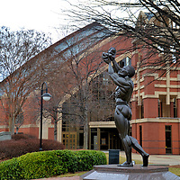 Behold Monument in Atlanta, Georgia<br /> There is an African tradition of lifting a newborn towards the heavens in thanks to God for the gift of life. The ritual is usually accompanied by the father speaking these words, &ldquo;Behold the only thing greater than yourself.&rdquo; Coretta Scott King commissioned sculptor Patrick Morelli to capture this moment in bronze as a tribute to her husband. In 1990, the Behold Monument was erected within the King Historic Site. In the background is the Horizon Sanctuary, the new Ebenezer Baptist Church built in 1999. It is located across Auburn Avenue from where MLK served as pastor.