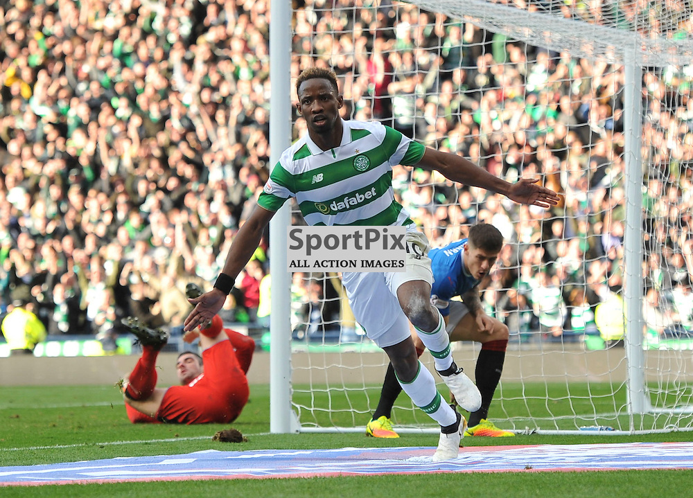 Moussa Dembele  wheels away after scoring in the match between Rangers v Celtic, Betfred Cup semi-final, Hampden Park, Sunday 23 October 2016, (c) Angie Isac | SportPix.org.uk