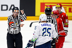 Referee Marc Wiegand (SUI) and Robert Sabolic of Slovenia during ice hockey match between Belarus and Slovenia at IIHF World Championship DIV. I Group A Kazakhstan 2019, on May 2, 2019 in Barys Arena, Nur-Sultan, Kazakhstan. Photo by Matic Klansek Velej / Sportida