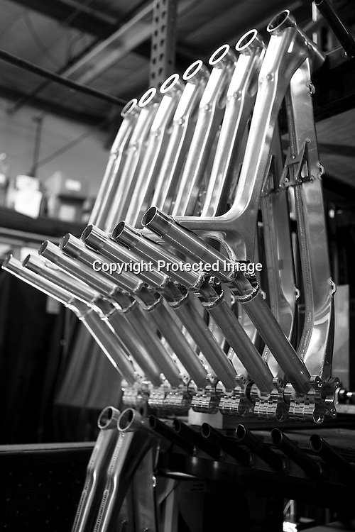 Aluminum mountain bike frames wait to be welded together as they are handmade in Intense's Temecula, California factory. Intense Cycle's 951 downhill mountain bike manufacturing line tour.