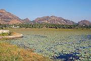 Lake and hills near Kanyakumari in South India.