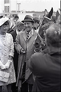 """26/06/1965<br /> 06/26/1965<br /> 26 June 1965<br /> Irish Sweeps Derby at the Curragh Race Course, Co. Kildare. Image shows """"Meadow Court"""" winner of the Irish Sweeps Derby with Mrs Frank McMahon and Bing Crosby, joint owners."""