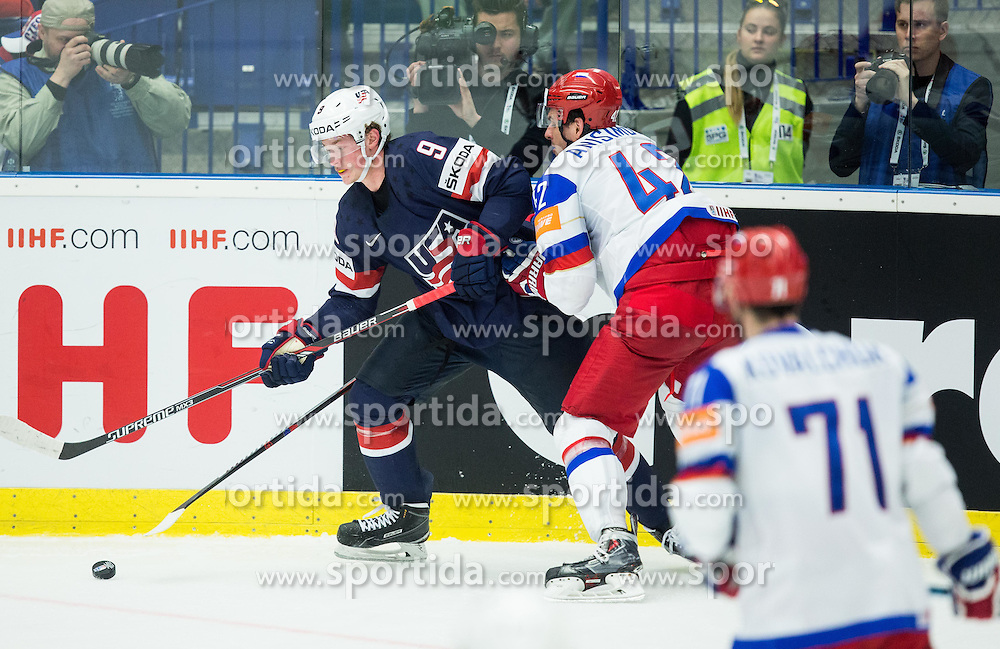 Jack Eichel of USA vs Artyom Anisimov of Russia during Ice Hockey match between Russia and USA at Day 4 in Group B of 2015 IIHF World Championship, on May 4, 2015 in CEZ Arena, Ostrava, Czech Republic. Photo by Vid Ponikvar / Sportida