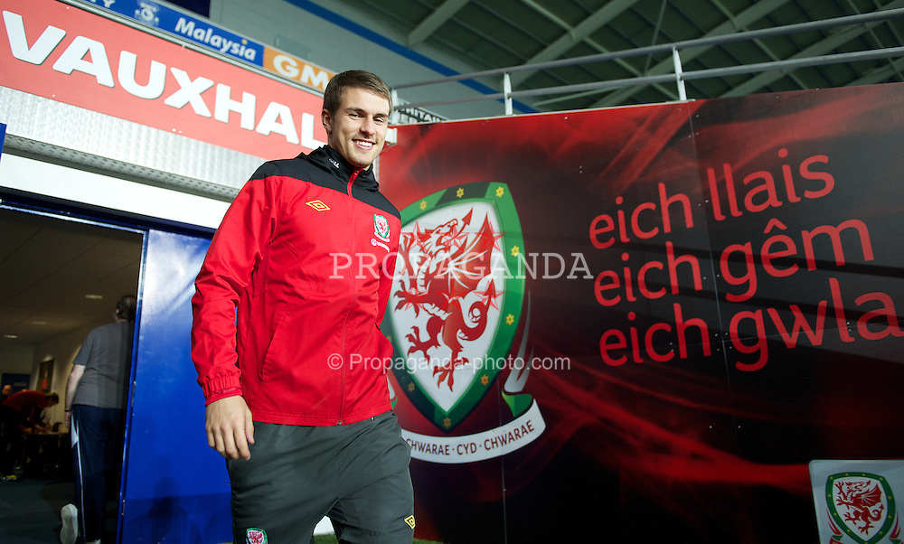 CARDIFF, WALES - Friday, November 11, 2011: Wales' captain Aaron Ramsey during a training session at the Cardiff City Stadium ahead of the friendly match against Norway. (Pic by David Rawcliffe/Propaganda)