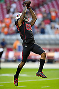 Arizona Cardinals tight end Ricky Seals-Jones (86) jumps and catches a pass during pregame warmups before the NFL week 7 regular season football game against the Denver Broncos on Thursday, Oct. 18, 2018 in Glendale, Ariz. The Broncos won the game 45-10. (©Paul Anthony Spinelli)
