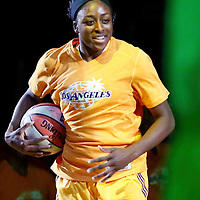 17 June 2014: Los Angeles Sparks forward Nneka Ogwumike (30) is seen during the players introduction prior to the Minnesota Lynx  94-77 victory over the Los Angeles Sparks, at the Staples Center, Los Angeles, California, USA.