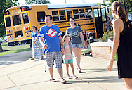 From left, Jonathan Luciano holds Cadence Luciano's hand as he and Crystal Luciano drop her off on the first day of classes at West Rockhill Elementary School Monday August 29, 2016 in West Rockhill Township, Pennsylvania.  (Photo by William Thomas Cain)