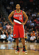 Dec. 10 2010; Phoenix, AZ, USA; Portland Trailblazers guard Andre Miller (24) reacts on the court against the Phoenix Suns at the US Airways Center. The Trailblazers defeated the Suns 101-94. Mandatory Credit: Jennifer Stewart-US PRESSWIRE..