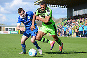 Forest Green Rovers midfielder Dan Wishart (17) battles for possession with North Ferriby United midfielder Danny Emerton (6) 0-1 during the Vanarama National League match between Forest Green Rovers and North Ferriby United at the New Lawn, Forest Green, United Kingdom on 1 April 2017. Photo by Alan Franklin.