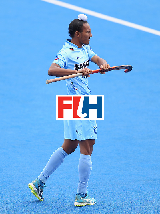 LONDON, ENGLAND - JUNE 25: Harjeet Singh of India in action during the 5th/6th place match between India and Canada on day nine of the Hero Hockey World League Semi-Final at Lee Valley Hockey and Tennis Centre on June 25, 2017 in London, England. (Photo by Steve Bardens/Getty Images)