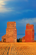 Grain elevators at sunrise<br /> Lepine<br /> Saskatchewan<br /> Canada