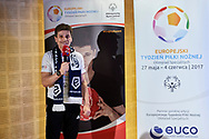 Warsaw, Poland - 2017 May 18: Miroslaw Nowicki Special Olympics football trainer speaks during press conference while the annual Special Olympics European Football Week at Legia Warsaw on May 18, 2017 in Warsaw, Poland.<br /> <br /> Adam Nurkiewicz declares that he has no rights to the image of people at the photographs of his authorship.<br /> <br /> Picture also available in RAW (NEF) or TIFF format on special request.<br /> <br /> Any editorial, commercial or promotional use requires written permission from the author of image.<br /> <br /> Image can be used in the press when the method of use and the signature does not hurt people on the picture.<br /> <br /> Mandatory credit:<br /> Photo by © Adam Nurkiewicz / Mediasport