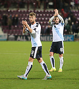 Dundee scorer Rory Loy and captain Kevin Thomson applaud the travelling support at the end - Hearts v Dundee - SPFL Premiership at Tynecastle<br /> <br />  - &copy; David Young - www.davidyoungphoto.co.uk - email: davidyoungphoto@gmail.com