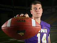 Northern Iowa Panthers quarterback Eli Dunne (14) poses for a picture during Northern Iowa Football Media Day at the UNI-Dome in Cedar Falls on Wednesday, Aug. 8, 2018.