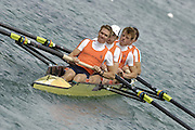 Munich, GERMANY, 2006, FISA, Rowing, World Cup, NED LM 4- Bow Arnoud Greidanus, 2. Wolter Blankert, Paul Drewes and Tom van der Broek. held on the Olympic Regatta Course, Munich, Thurs. 25.05.2006. © Peter Spurrier/Intersport-images.com,  / Mobile +44 [0] 7973 819 551 / email images@intersport-images.com..[Mandatory Credit, Peter Spurier/ Intersport Images] Rowing Course, Olympic Regatta Rowing Course, Munich, GERMANY