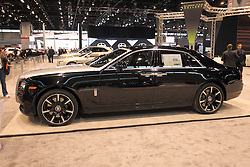 11 February 2016:  RollsRoyce Ghost.<br /> <br /> First staged in 1901, the Chicago Auto Show is the largest auto show in North America and has been held more times than any other auto exposition on the continent.  It has been  presented by the Chicago Automobile Trade Association (CATA) since 1935.  It is held at McCormick Place, Chicago Illinois<br /> #CAS16
