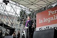 ROMA. L'ONOREVOLE ANTONIO DI PIETRO DURANTE IL SUO DISCORSO NEL CORSO DELLA MANIFESTAZIONE CONTRO IL DECRETO SALVA LISTE DEL GOVERNO BERLUSCONI PER LE ELEZIONI REGIONALI 2010