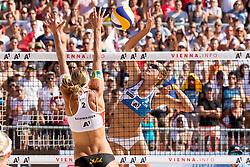 29.07.2017, Donauinsel, Wien, AUT, FIVB Beach Volleyball WM, Wien 2017, Damen, Gruppe L, im Bild v.l. Stefanie Schwaiger (AUT), Nadeschda Makrogusowa (RUS) // f.l. Stefanie Schwaiger of Austria Nadeschda Makrogusowa of Russia during the women's group L match of 2017 FIVB Beach Volleyball World Championships at the Donauinsel in Wien, Austria on 2017/07/29. EXPA Pictures © 2017, PhotoCredit: EXPA/ Sebastian Pucher