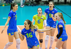 Monika Potokar of Slovenia and other players celebrate during volleyball match between National Teams of Slovenia and France in 3rd Round of 2015 CEV Volleyball European Championship Women Qualifications, on May 29, 2015 in Arena Tabor, Maribor, Slovenia.
