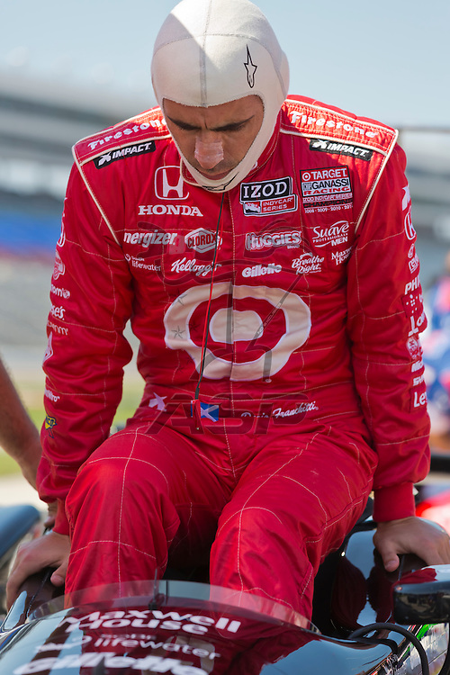 Ft WORTH, TX - JUN 08, 2012:  Dario Franchitti (10) prepares to qualify for the Firestone 550 race at the Texas Motor Speedway in Fort Worth, TX.