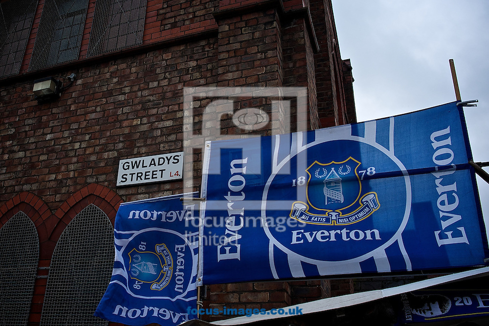 Picture by Ian Wadkins/Focus Images Ltd +44 7877 568959<br /> 01/02/2014<br /> General view of the exterior of the stadium showing fans flags on sale ahead of the Barclays Premier League match at Goodison Park, Liverpool.