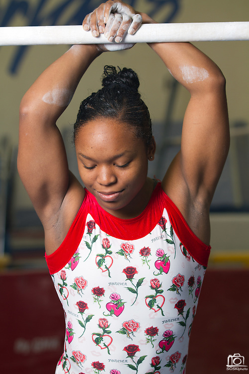 San Jose State all-around gymnast, Thomasina Wallace, broke the SJSU all-around record twice in two weeks, scoring 39.425 against Southern Utah and 39.525 against Utah State.  Photo by Stan Olszewski/Spartan Daily