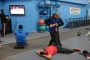 Johny Hendricks training at Velociti Fitness in Pantego, Texas on February 6, 2014.