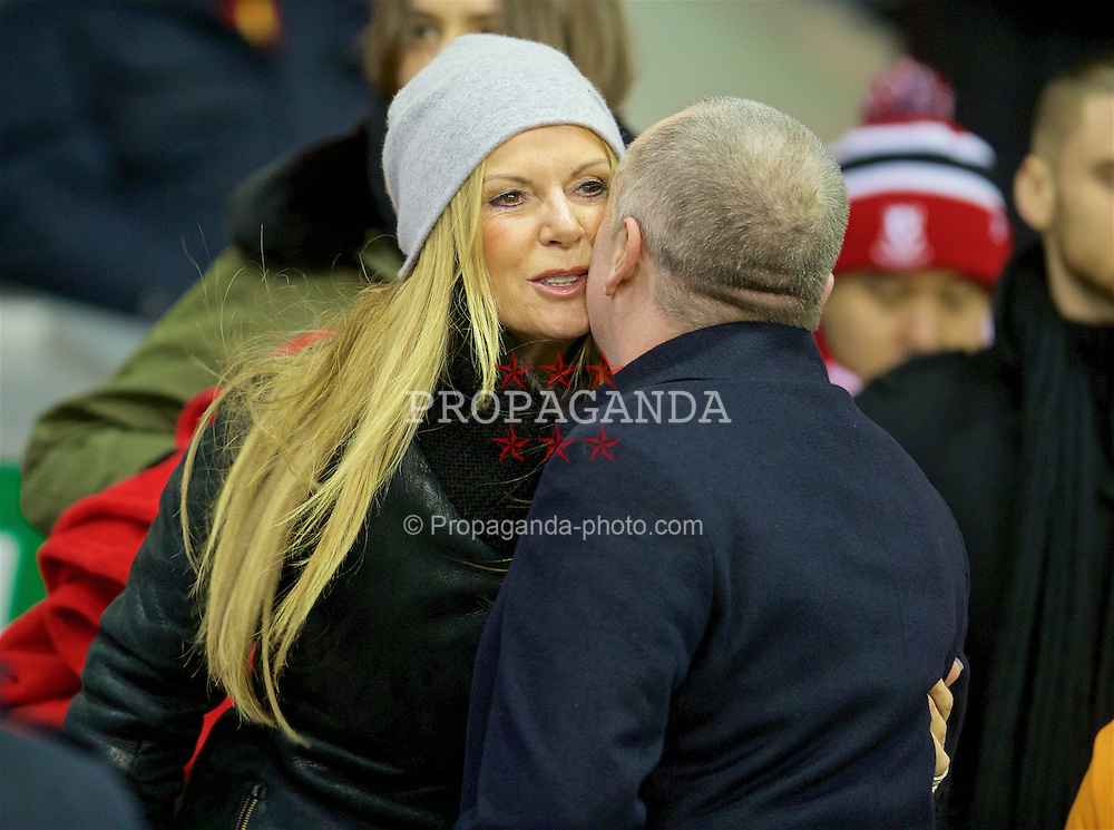 LIVERPOOL, ENGLAND - Saturday, January 30, 2016: Jürgen Kopp's wife Ulla Sandrock kisses Managing Director Ian Ayre as Liverpool take on West Ham United during the FA Cup 4th Round match at Anfield. (Pic by David Rawcliffe/Propaganda)