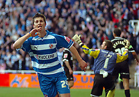 Photo: Kevin Poolman.<br />Reading v Derby County. Coca Cola Championship. 01/04/2006. Shane Long celebrates his 2nd goal