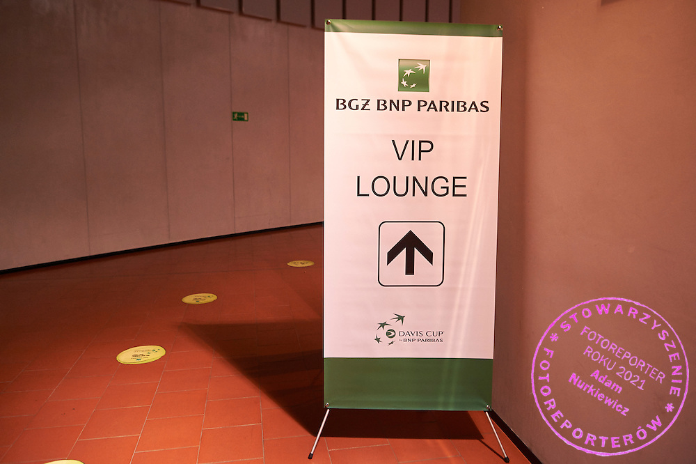 VIP Lounge BNP Paribas during Davis Cup Tie World Group Play-off Poland v Slovakia at Gdynia Arena Hall in Gdynia, Poland.<br /> <br /> Poland, Gdynia, September 18, 2015<br /> <br /> Picture also available in RAW (NEF) or TIFF format on special request.<br /> <br /> For editorial use only. Any commercial or promotional use requires permission.<br /> <br /> Adam Nurkiewicz declares that he has no rights to the image of people at the photographs of his authorship.<br /> <br /> Mandatory credit:<br /> Photo by &copy; Adam Nurkiewicz / Mediasport