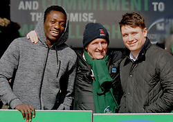 Enjoying the Junior Cup final…Connacht winger Niyi Adeolokun, Brendan McNally and Michael McLoughlin
