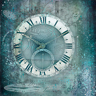 Antique clock face on a teal background