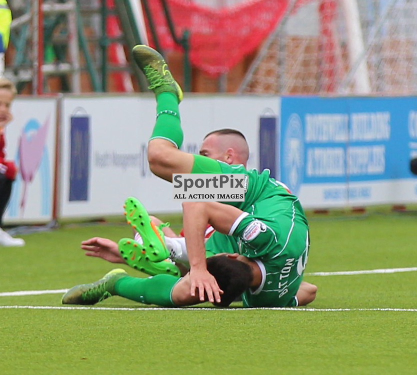 Hamilton Academical v Celtic Scottish Premiership 4 October 2015; Darian MacKinnon (Hamilton Academical, 18) goes in hard on Nir Bitton (Celtic, 6) during the Hamilton Academical v Celtic Scottish Premiership match played at New Douglas Park, Hamilton <br /> <br /> &copy; Chris McCluskie | SportPix.org.uk
