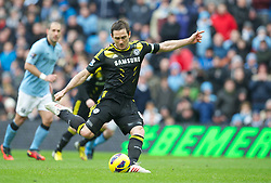 MANCHESTER, ENGLAND - Sundcay, February 24, 2013: Chelsea's Frank Lampard sees his penalty saved against Manchester City during the English Premier League 27th round match between Chelsea FC and Manchester City at the Stamford Bridge, London, Great Britain on 2013/02/24. EXPA Pictures © 2013, PhotoCredit: EXPA/ Propagandaphoto/ David Rawcliffe..***** ATTENTION - OUT OF ENG, GBR, UK *****