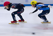 (L) Noh Do Hee of South Korea and (R) Emina Malagich of Russia compete in the Women's 500 Meters on day two of the 2013 ISU Short Track Speed Skating Junior World Championships at Torwar Ice Hall on February 23, 2013 in Warsaw, Poland...Poland, Warsaw, February 23, 2013...Picture also available in RAW (NEF) or TIFF format on special request...For editorial use only. Any commercial or promotional use requires permission...Photo by © Adam Nurkiewicz / Mediasport