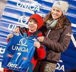 28.12.2013, Hauptplatz, Lienz, AUT, FIS Weltcup Ski Alpin, Lienz, Damen, Siegerehrung Riesentorlauf mit anschließender Auslosung der Startnummern fuer Slalom, im Bild Bernadette Schild (AUT) // during the victory ceremony of the giant slalom and the bip draw for slalom, Lienz FIS Ski Alpine World Cup at Hautpplatz in Lienz, Austria on 2013/12/28, EXPA Pictures © 2013 PhotoCredit: EXPA/ Michael Gruber