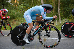 Lotte Kopecky pulls over after completing her turn for Lotto Soudal at the 26.4 km Stage 2 Team Time Trial of the Boels Ladies Tour 2016 on 31st August 2016 in Gennep, Netherlands. (Photo by Sean Robinson/Velofocus).