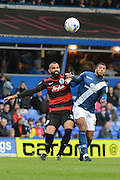 Birmingham City midfielder David Davis and Queens Park Rangers midfielder Sandro tussle for the ball during the Sky Bet Championship match between Birmingham City and Queens Park Rangers at St Andrews, Birmingham, England on 17 October 2015. Photo by Alan Franklin.