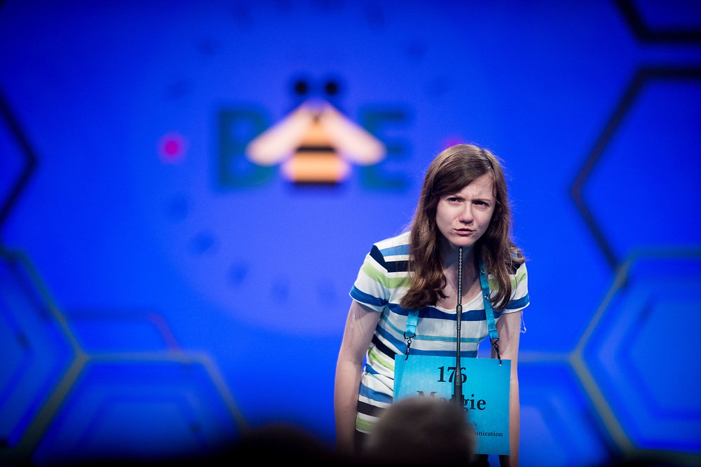 Maggie Sheridan, 13, from Mansfield, Ohio, participates in the finals of the 2017 Scripps National Spelling Bee on Thursday, June 1, 2017 at the Gaylord National Resort and Convention Center at National Harbor in Oxon Hill, Md.      Photo by Pete Marovich/UPI