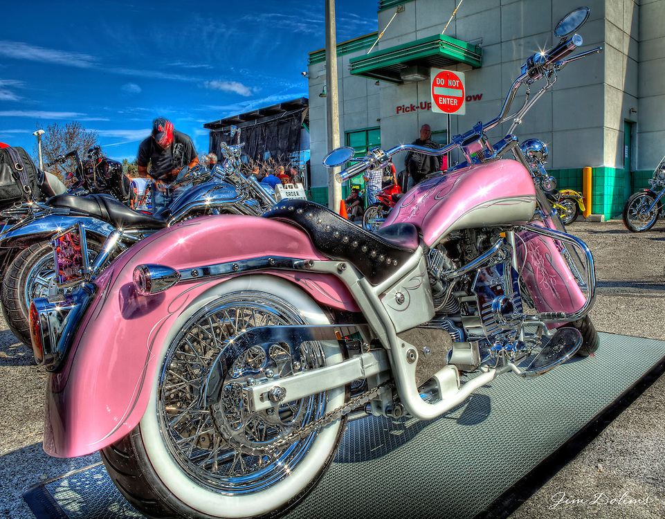 """Pink Ridley"" won first place in the Open Class at the Motorcycle Expo at Quaker Steak. Owner- Pam Miller."