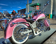 """""""Pink Ridley"""" won first place in the Open Class at the Motorcycle Expo at Quaker Steak. Owner- Pam Miller."""