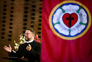 The Rev. Dr Albert Collver III, director of church relations-assistant to LCMS President Rev. Dr. Matthew C. Harrison, preaches Wednesday, Oct. 4, 2017, during evening service at Iglesia Luterana de Cristo Rey (Christ the King) in Guatemala City, Guatemala. LCMS Communications/Erik M. Lunsford