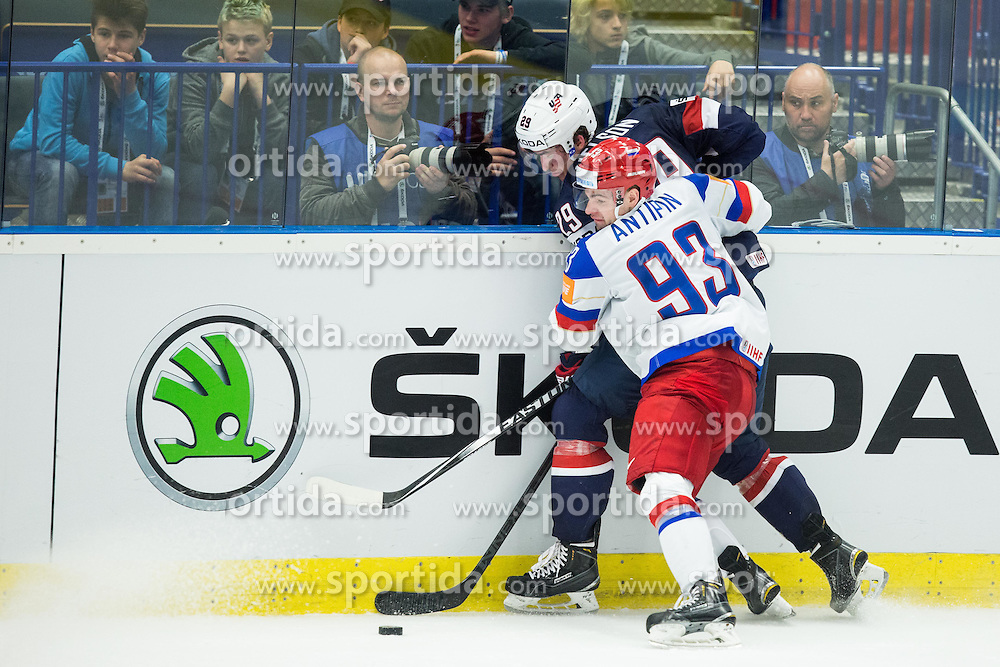 Brock Nelson of USA vs Viktor Antipin of Russia during Ice Hockey match between Russia and USA at Day 4 in Group B of 2015 IIHF World Championship, on May 4, 2015 in CEZ Arena, Ostrava, Czech Republic. Photo by Vid Ponikvar / Sportida