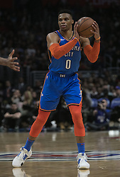 March 8, 2019 - Los Angeles, California, United States of America - Russell Westbrook #0 of the Oklahoma Thunder looks to pass the ball during their NBA game with the Los Angeles Clippers on Friday March 8, 2019 at the Staples Center in Los Angeles, California. Clippers defeat Thunder, 118-110.  JAVIER ROJAS/PI (Credit Image: © Prensa Internacional via ZUMA Wire)