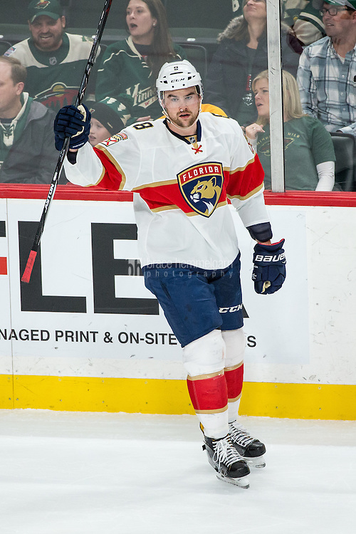 Dec 13, 2016; Saint Paul, MN, USA; Florida Panthers defenseman Dylan McIlrath (8) celebrates his goal during the third period against the Minnesota Wild at Xcel Energy Center. The Wild defeated the Panthers 5-1. Mandatory Credit: Brace Hemmelgarn-USA TODAY Sports