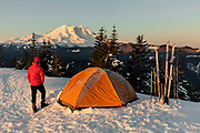 WA14516-00...WASHINGTON - Winter campsite on Suntop Mountain in the Baker-Snoqualmie National Forest.