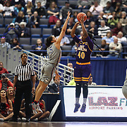 HARTFORD, CONNECTICUT- JANUARY 4: Gabrielle Holston #40 of the East Carolina Lady Pirates shoots while defended by Gabby Williams #15 of the Connecticut Huskies during the UConn Huskies Vs East Carolina Pirates, NCAA Women's Basketball game on January 4th, 2017 at the XL Center, Hartford, Connecticut. (Photo by Tim Clayton/Corbis via Getty Images)