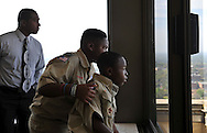 Demetric Wilson (right) and fellow scout Calvin Minion, both members of Boy Scout Troop 772 of Fort Pierce, have a soaring view of Tallahassee from the Florida Capitol on April 3, 2014. Troop volunteer Remi Dieujuste, a St. Lucie County firefighter, also appreciates the view. (XAVIER MASCAREÑAS/TREASURE COAST NEWSPAPERS)
